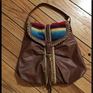 Saddle Blanket stitched fringe tote Boho bag Aztec